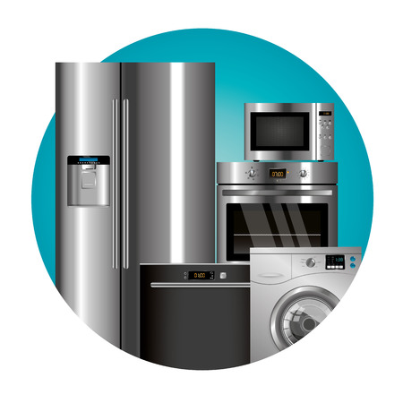 household appliances: Vector household appliances set in a color circle