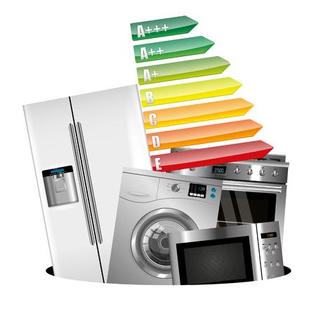 Home appliances consumption isolatyed on white background Vektorové ilustrace