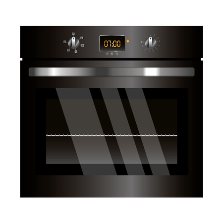 appliance: Vector electric oven black design kitchen appliance