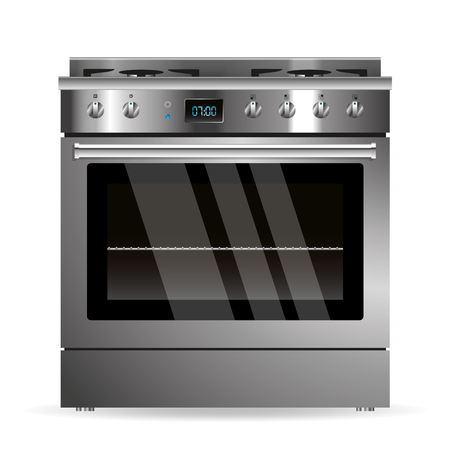 appliance: Vector gas oven silver design kitchen appliance Illustration
