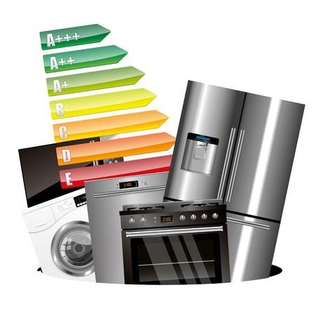 consumption: Home appliances consumption isolatyed on white background Illustration