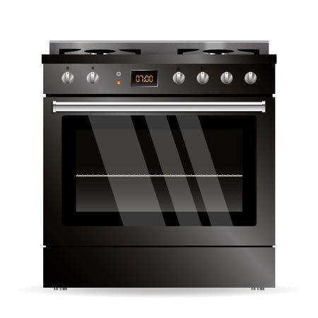 appliance: Vector gas oven black design kitchen appliance