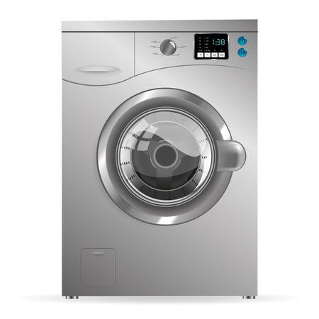 washing windows: Silver Washing machine isolated on white background