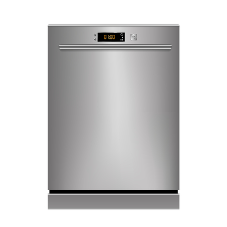 dirty house: Vector dishwasher isolated on a white background