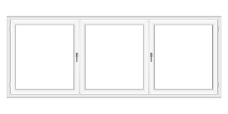cropped: White PVC vector window isolated on white background