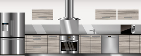 modular home: Vector modern kitchen in gray and wood colors