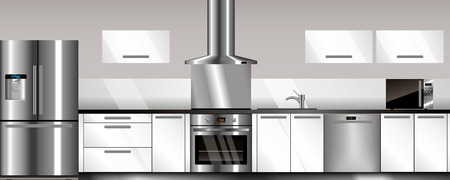 modern kitchen: Vector modern kitchen in gray and white colors