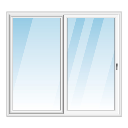 White PVC vector bay window isolated on white background Çizim