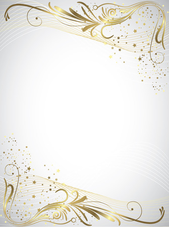 gold christmas background: Christmas gold starry background full vector elements Illustration