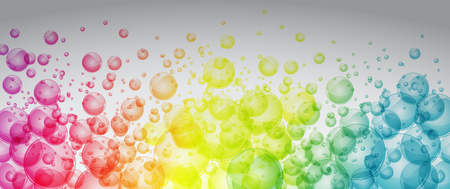 Rainbow color bubbles full vector art banner Ilustrace