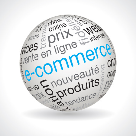 e commerce: French e commerce theme sphere vector with keywords