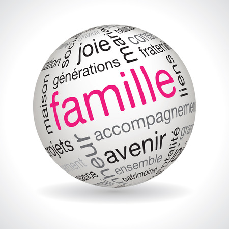 keywords: French family theme sphere vector with keywords