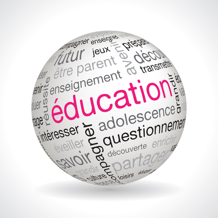 keywords: French education theme sphere vector with keywords Illustration
