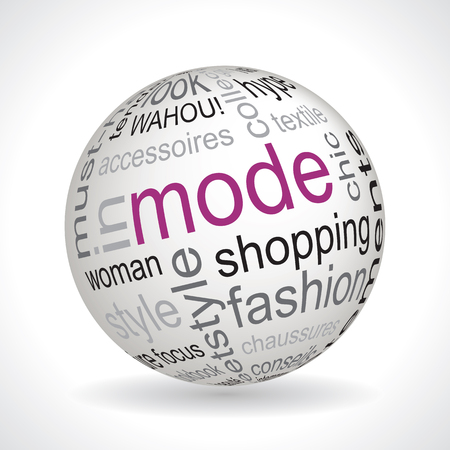 keywords: French fashion theme sphere vector with keywords