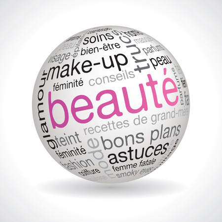 keywords: French beauty theme sphere vector with keywords Illustration