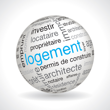keywords: French housing theme sphere vector with keywords