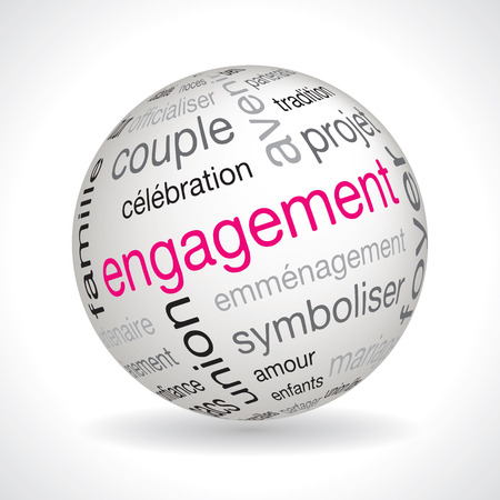 keywords: French engagement theme sphere vector with keywords