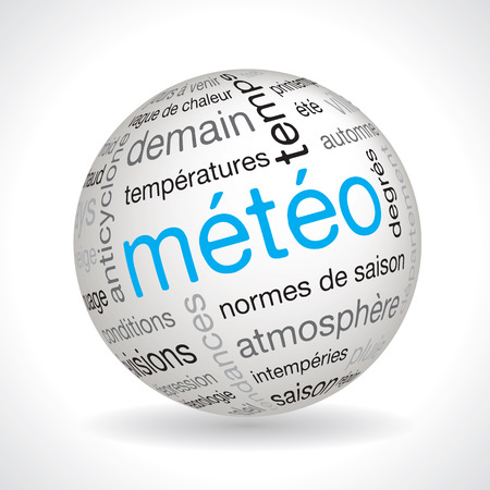 weather forecast: French weather forecast theme sphere vector with keywords