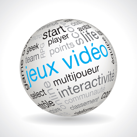typo: French video games theme sphere vector with keywords Illustration