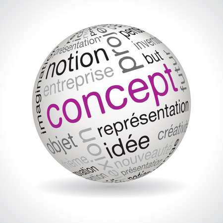 typo: French concept theme sphere vector with keywords Illustration