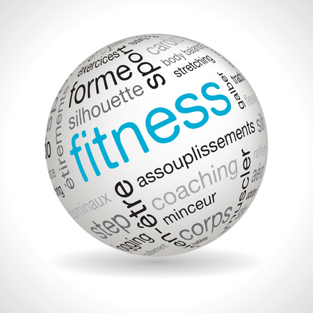 keywords: French fitness theme sphere vector with keywords
