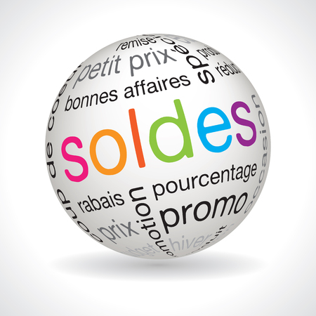 keywords: French sales theme sphere vector with keywords
