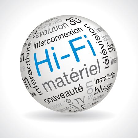 hifi: French hifi theme sphere vector with keywords