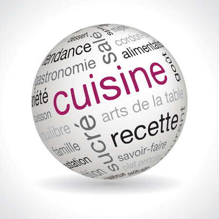 typo: French cooking theme sphere vector with keywords Illustration