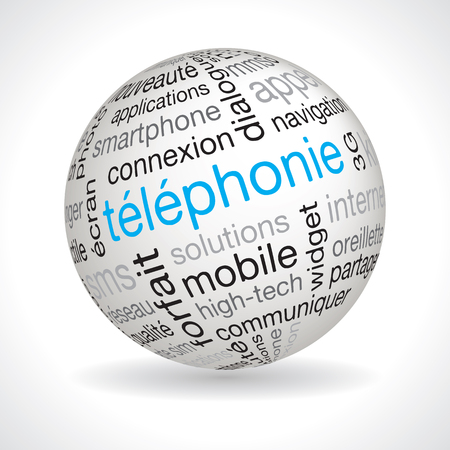 telephony: French telephony theme sphere vector with keywords