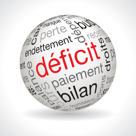 deficit: French deficit theme sphere vector with keywords