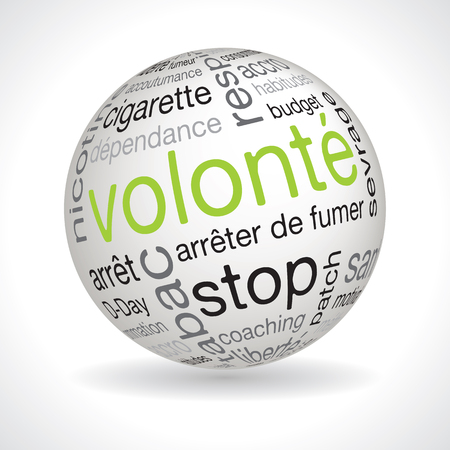 typo: French will theme sphere vector with keywords