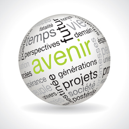 lexical: French future theme sphere vector with keywords