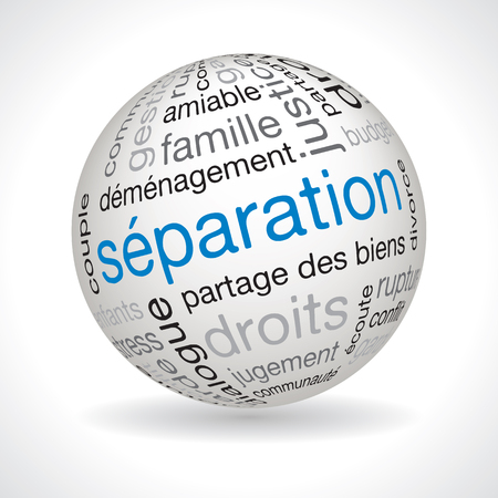 separation: French separation theme sphere vector with keywords Illustration