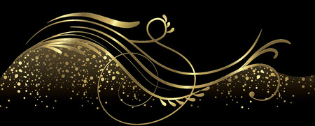 Black and gold banner full vector elements