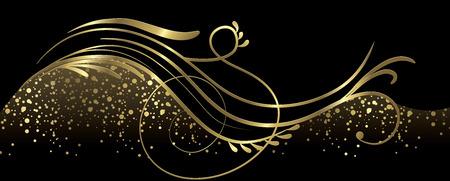 Zwart en goud banner volledige vector elementen