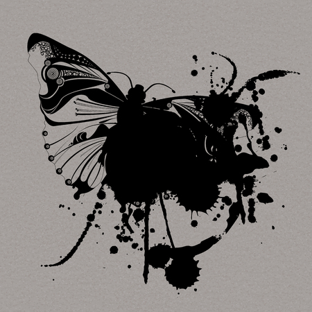 butterfly isolated: Grunge vector butterfly isolated on grey background Illustration
