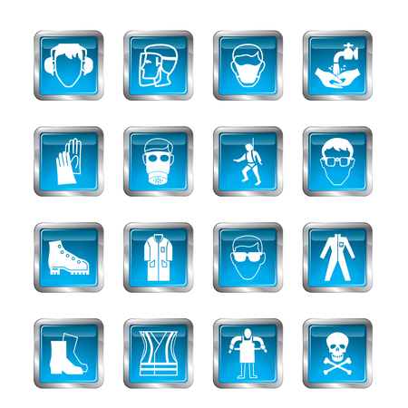danger signs: Vector security icons isolated on a white background Illustration
