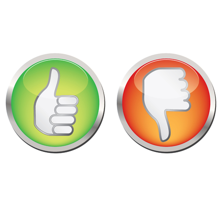 Thumb up and down isolated vector icons