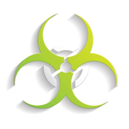 radioactivity danger logo: biohazard icon paper style full vector Illustration