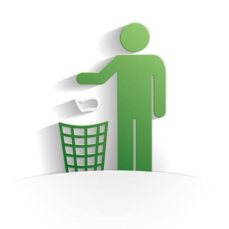 aseo: icono de estilo de papel de la limpieza completa del vector