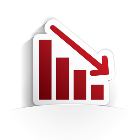deficits: down graph icon paper style full vector