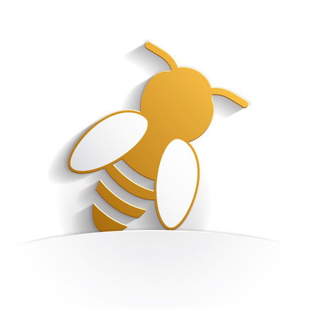 bee icon paper style full vector