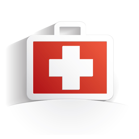 urgent care: first aid kit icon paper style full vector