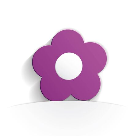 flower icon paper style full vector Illustration