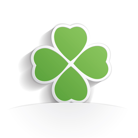four leaf clover icon paper style full vector Illustration