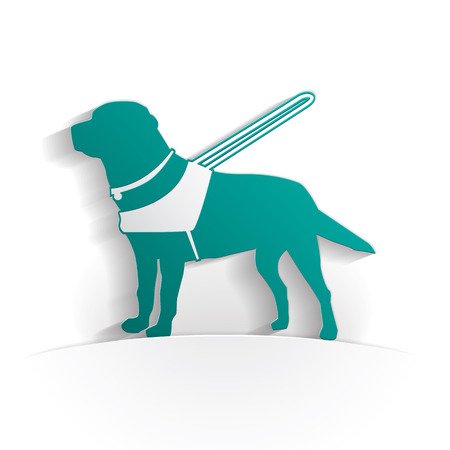 Guide dog icon paper style full vector Illustration