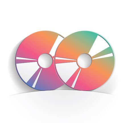 two cd icon paper style full vector