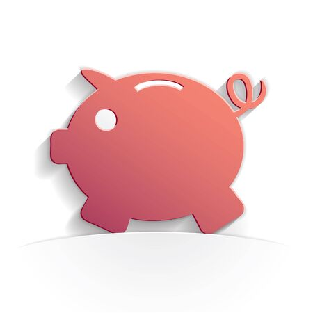 piggy bank paper icon style full vector