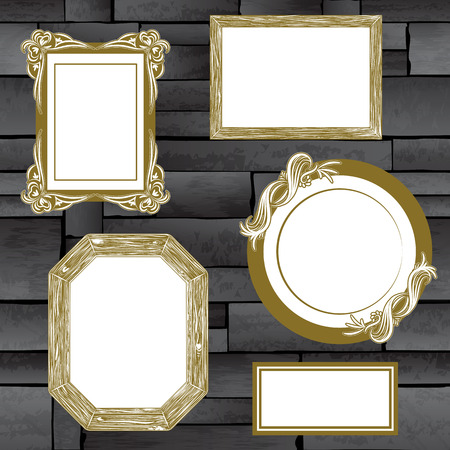 Stone wall frames full vector texture background