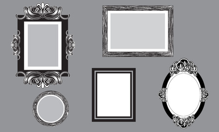 customizable: Wall covered with different customizable picture frames Illustration